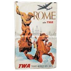 Visit ROME Via TWA Trans World Airlines Original Travel Poster c.1960s