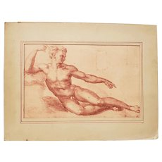 """Antique Lithograph """"Creation of Adam"""" Late 19th to Early 20th Century"""