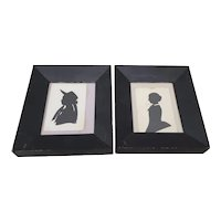 """Pair of Antique """"Mother and Daughter"""" Silhouettes c.1900"""