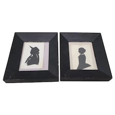 "Pair of Antique ""Mother and Daughter"" Silhouettes c.1900"