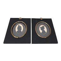 """Pair of Antique """"Sisters"""" Hand Cut & Embellished Silhouettes 19th Century"""