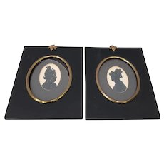 "Pair of Antique ""Sisters"" Hand Cut & Embellished Silhouettes 19th Century"