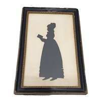 Antique Hand Cut Silhouette of a Young Woman Reading a Book 19th Century