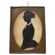 19th Century Miniature Silhouette of a Young Lady in a Hand Etched Brass Frame