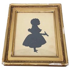 Early 20th Century Silhouette of a Young Girl Holding a Bird c.1900