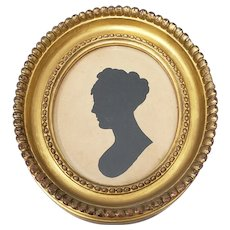 19th Century Silhoutte Portrait of a Young Woman