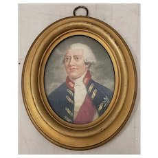 Early 19th Century Hand Colored Miniature Portrait Engraving of King George III c.1804