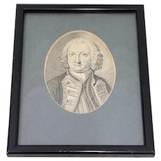 Lord Anson First Lord of the Admiralty Miniature Portrait Engraving 18th to 19th c.