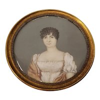 19th Century Portrait Miniature of a Young Woman with Short Curly Hair