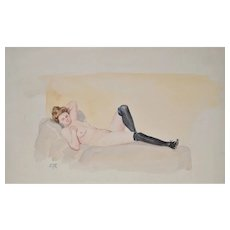 Vintage Reclining Nude Watercolor Painting c.1930s