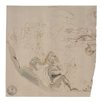 Fragment of an 18th Century Old Master Drawing with Collectors Stamp