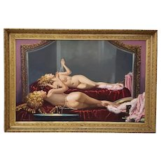 Irving Sinclair (American) Large Scale Reclining Nude w/ Pearls Original Oil Painting c.1940s