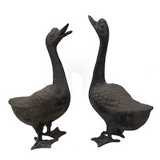 Pair of 20th Century Cast Iron Geese Sculptures