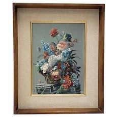 Louis Emiel Chappel (1888-1963) Floral Still Life II Oil Painting c.1950s