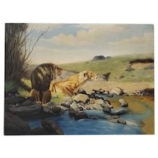 "Henry Roland ""Lions at the Waters Edge"" Original Oil Painting Early 20th Century"