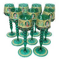 Set of Nine Salviati Murano Wine Glasses Hand Painted w/ Notable Venetian Figures