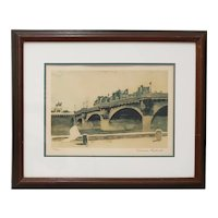 "Norman Rockwell ""Paris Bridge"" Original Pencil Signed Lithograph c.1930s"