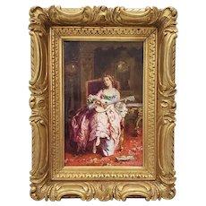 Jean Paul Sinibaldi (France, 1857-1909) Portrait of an Elegant Young Woman Playing Guitar c.1880s