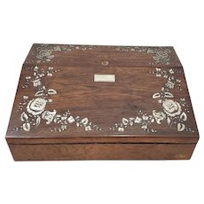 19th Century Rosewood and Mother of Pearl Inlay Travel Desk