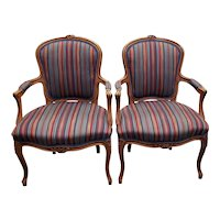 Pair of Carved & Upholstered French Walnut Arm Chairs c.1940s