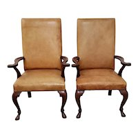 Ralph Lauren Carved Mahogany & Leather Upholstered Arm Chairs