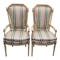 Pair of French Carved, Painted & Upholstered Arm Chairs c.1940