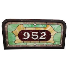 19th Century Stained Glass Victorian House Number Window Panel c.1880