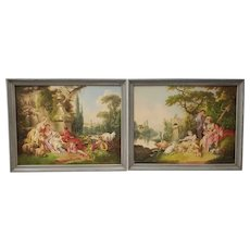 Pair of Early 20th Century Oil Painting of Lovers in a Classical Setting