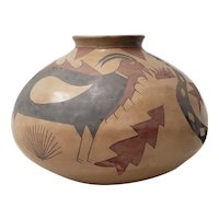 Mid 20th Century Clay Pottery with Hand Painted Birds, Snakes & Arrows