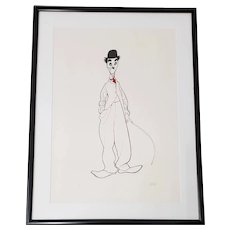 "Al Hirschfeld ""Chaplin as the Little Tramp"" Hand Signed Limited Edition Lithograph c.1989"