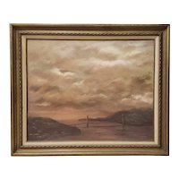 A Foggy Day Over the Golden Gate Bridge Oil Painting by Kay Athos c.1970s
