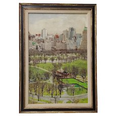 New York City Central Park South Original Oil Painting by Morrison c.1970