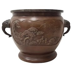 Early 20th Century Raised Relief Chinese Bronze Planter