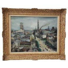 """Luigi Corbellini (1901-1968) """"European Cityscape"""" Original Oil Painting c.1950s"""
