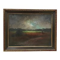 Early Morning Light at the Edge of the Meadow Original Painting by Michael Wood c.1969