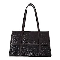 Francesco Biasia Croc Embossed Patent Leather Purse