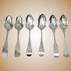 Set of Six Mismatched Coin Silver Spoons