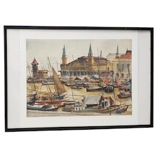 "Arthur Shilstone (American, b.1922) ""Belem, Brazil"" Original Watercolor c.1960s"