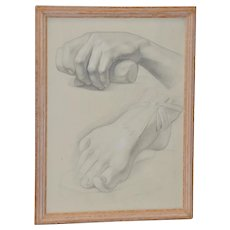 Vintage Graphite Study of Clinched Hand and Extended Foot c.1960s