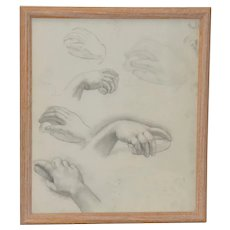 Vintage Graphite Study of Various Hand Positions c.1960s
