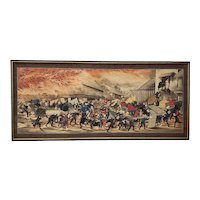 "Remarkable 19th Century ""Great Japanese Fire"" Watercolor Painting"