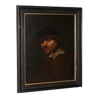Antique Oil Portrait of a Young Rembrandt 19th Century