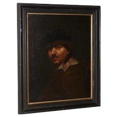 Antique Oil Portrait of a Young Rembrandt 19th Century