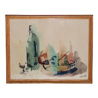 Mid Century Modern Still Life Table w/ Wine & Fruit Watercolor by Fermatta