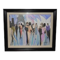 "Bruno Dutot Original Gouache ""Dancing in Paris"" Original Painting c.1980s"