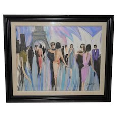 "Bruno Dutot Original Gouache ""Dancing in Paris"" Original Painting c.1980s"