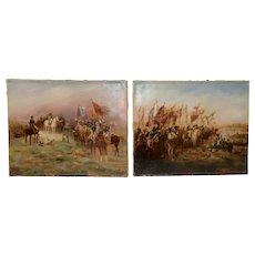 """Pair of 19th Century """"Epic Battle of Austerlitz"""" Original Oil Paintings"""
