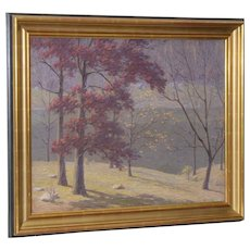 Andrew T. Schwartz (New York, 1867-1942) Fall Landscape Oil Painting c.1920s