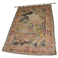 Fine Antique European Tapestry Depicting A Country Scene with Dogs