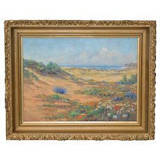 Early 20th Century California School Flowering Coastal Dunes Oil Painting c.1930